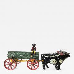 Hubley American Cast Iron Toy Oxen Drawn Log on Carriage with Rider Hubley Ca 1906 - 553526