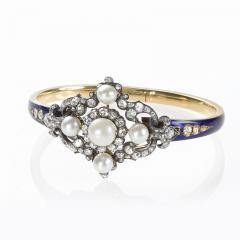 Hunt Roskell Hunt Roskell Antique Diamond Pearl Gold and Enamel Bracelet - 186413