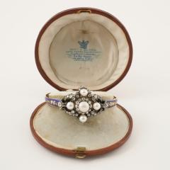 Hunt Roskell Hunt Roskell Antique Diamond Pearl Gold and Enamel Bracelet - 186418