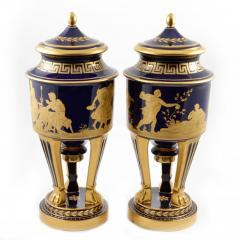 Hutschenreuther 1914s Pair of Porcelain Cobalt Blue 19 Vases with Mythological Scenes - 176540