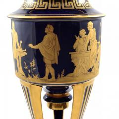 Hutschenreuther 1914s Pair of Porcelain Cobalt Blue 19 Vases with Mythological Scenes - 176544