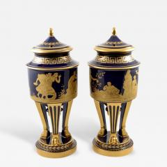 Hutschenreuther 1914s Pair of Porcelain Cobalt Blue 19 Vases with Mythological Scenes - 176959