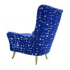 ISA Bergamo I S A Italy Italian Mid Century Modern Cotton Pattern Pair of ISA Slipper Chairs - 1661784