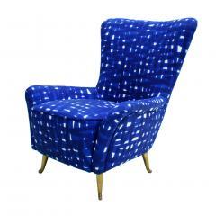 ISA Bergamo I S A Italy Italian Mid Century Modern Cotton Pattern Pair of ISA Slipper Chairs - 1661785