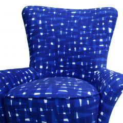 ISA Bergamo I S A Italy Italian Mid Century Modern Cotton Pattern Pair of ISA Slipper Chairs - 1661787