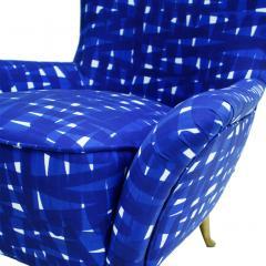 ISA Bergamo I S A Italy Italian Mid Century Modern Cotton Pattern Pair of ISA Slipper Chairs - 1661788