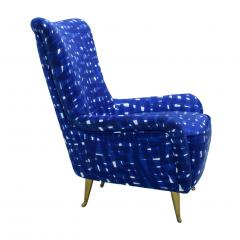 ISA Bergamo I S A Italy Italian Mid Century Modern Cotton Pattern Pair of ISA Slipper Chairs - 1661789