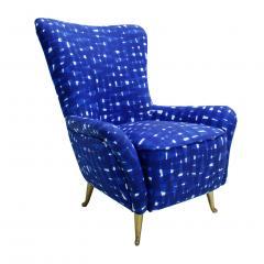 ISA Bergamo I S A Italy Italian Mid Century Modern Cotton Pattern Pair of ISA Slipper Chairs - 1661790