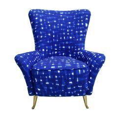 ISA Bergamo I S A Italy Italian Mid Century Modern Cotton Pattern Pair of ISA Slipper Chairs - 1661791