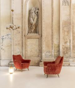 ISA Bergamo I S A Italy Pair of Italian Midcentury Armchairs by Isa - 1486713