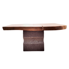 Ian Love Design Cherry Coffee Table With Brass Inlay And Hand Carved Ebonized Pine Based - 1526246