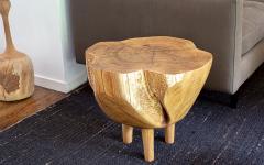 Ian Love Design Hand Carved Elm Side Table - 1672782