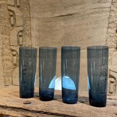 Iittala FINLAND Blue Tall Drink Tumbler Glasses Set of Four by Kaj Franck Iittala 1960s - 2088157