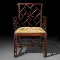 Ince Mayhew 18th Century Chinese Chippendale Cockpen Armchair Desk Chair - 926496