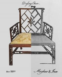 Ince Mayhew 18th Century Chinese Chippendale Cockpen Armchair Desk Chair - 926499