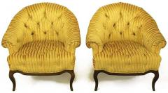 Interiors Crafts Elegant Pair of Interior Crafts Button Tufted Barrel Back Lounge Chairs - 898991