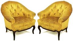 Interiors Crafts Elegant Pair of Interior Crafts Button Tufted Barrel Back Lounge Chairs - 898993