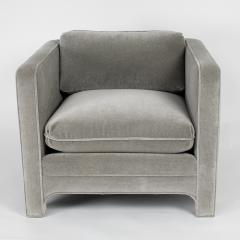 Interiors Crafts PAIR OF CLUB CHAIRS IN GRAY MOHAIR BY INTERIOR CRAFTS CIRCA 1980S - 733424