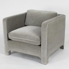 Interiors Crafts PAIR OF CLUB CHAIRS IN GRAY MOHAIR BY INTERIOR CRAFTS CIRCA 1980S - 733430