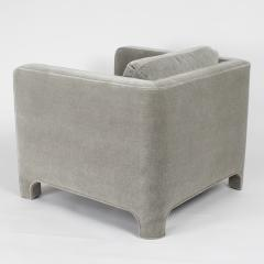Interiors Crafts PAIR OF CLUB CHAIRS IN GRAY MOHAIR BY INTERIOR CRAFTS CIRCA 1980S - 733434