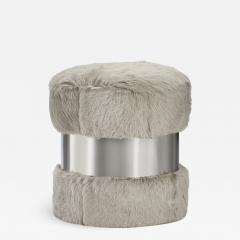 Interlude Home Scarlett Stool Grey Goat Nickel - 1444472
