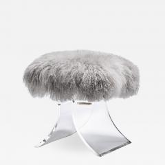 Interlude Home Serena Stool Grey Sheepskin - 1442597