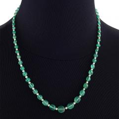 J E Caldwell Co J E Caldwell Art Deco Emerald Pearl Diamond and Platinum Necklace - 718021