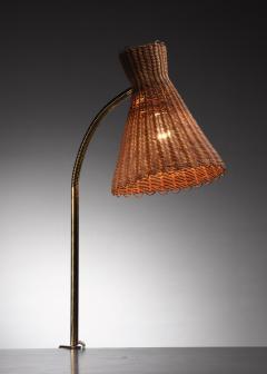 J T Kalmar Kalmar Lighting Kalmar clamp on brass and wicker desk lamp - 1640921