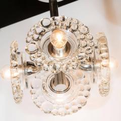 J T Kalmar Kalmar Lighting Mid Century Modern Chrome Chandelier with Abstracted Floral Shades J T Kalmar - 1460056