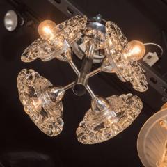 J T Kalmar Kalmar Lighting Mid Century Modern Chrome Chandelier with Abstracted Floral Shades J T Kalmar - 1460057