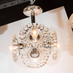 J T Kalmar Kalmar Lighting Mid Century Modern Chrome Chandelier with Abstracted Floral Shades J T Kalmar - 1460058