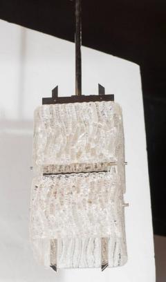 J T Kalmar Kalmar Lighting Mid Century Two Tier Textured Glass Pendant with Chrome Fittings by Kalmar - 1461219