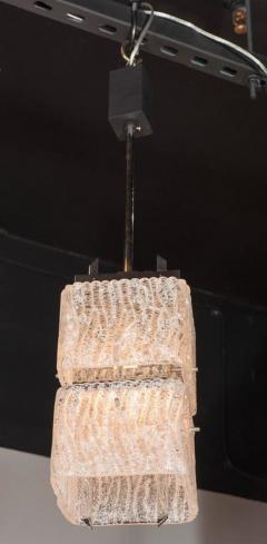 J T Kalmar Kalmar Lighting Mid Century Two Tier Textured Glass Pendant with Chrome Fittings by Kalmar - 1461223
