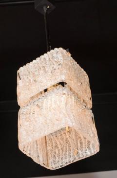 J T Kalmar Kalmar Lighting Mid Century Two Tier Textured Glass Pendant with Chrome Fittings by Kalmar - 1461224