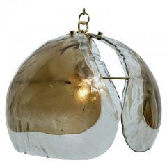 J T Kalmar Kalmar Lighting Pair of Kalmar Chandelier Pendant Lights Smoked Glass and Brass 1970s - 1336990