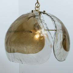 J T Kalmar Kalmar Lighting Pair of Kalmar Chandelier Pendant Lights Smoked Glass and Brass 1970s - 1337065