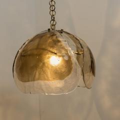 J T Kalmar Kalmar Lighting Pair of Kalmar Chandelier Pendant Lights Smoked Glass and Brass 1970s - 1337074
