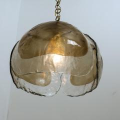 J T Kalmar Kalmar Lighting Pair of Kalmar Chandelier Pendant Lights Smoked Glass and Brass 1970s - 1337075