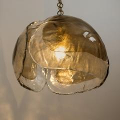 J T Kalmar Kalmar Lighting Pair of Kalmar Chandelier Pendant Lights Smoked Glass and Brass 1970s - 1337076