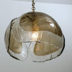 J T Kalmar Kalmar Lighting Pair of Kalmar Chandelier Pendant Lights Smoked Glass and Brass 1970s - 1337077