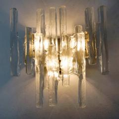 J T Kalmar Kalmar Lighting Pair of Kalmar Ice Glass Wall Sconce by J T Kalmar Austria 1970s - 1336522