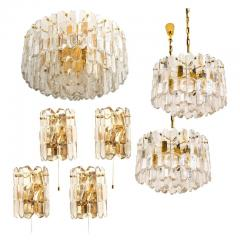 J T Kalmar Kalmar Lighting Set of Seven J T Kalmar Palazzo Light Fixtures Gilt Brass and Glass 1970 - 1314670