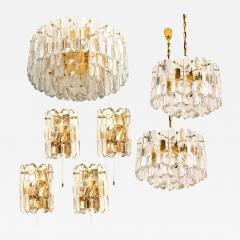 J T Kalmar Kalmar Lighting Set of Seven J T Kalmar Palazzo Light Fixtures Gilt Brass and Glass 1970 - 1325126