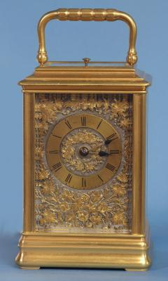 J W Benson London French Gilt Bronze Cannalee Cased Carriage Clock with Decorative Metal Panels - 1276301
