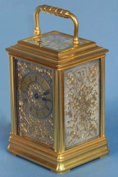 J W Benson London French Gilt Bronze Cannalee Cased Carriage Clock with Decorative Metal Panels - 1276356