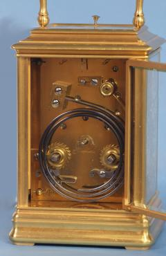 J W Benson London French Gilt Bronze Cannalee Cased Carriage Clock with Decorative Metal Panels - 1276357