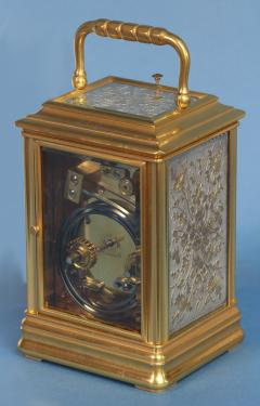 J W Benson London French Gilt Bronze Cannalee Cased Carriage Clock with Decorative Metal Panels - 1276358