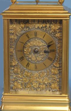J W Benson London French Gilt Bronze Cannalee Cased Carriage Clock with Decorative Metal Panels - 1276360