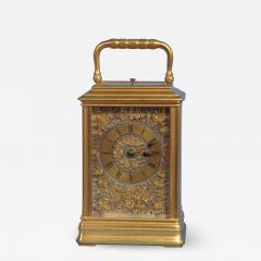 J W Benson London French Gilt Bronze Cannalee Cased Carriage Clock with Decorative Metal Panels - 1277563