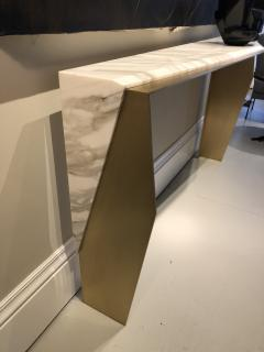 James Devlin Studio Chevron Console Calacatta gold marble  - 1247234